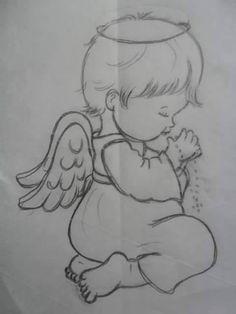 Disney Drawings Sketches, Girl Drawing Sketches, Art Drawings Sketches Simple, Art Drawings For Kids, Baby Drawing, Pencil Art Drawings, Cute Drawings, Angel Drawing, Christmas Drawing