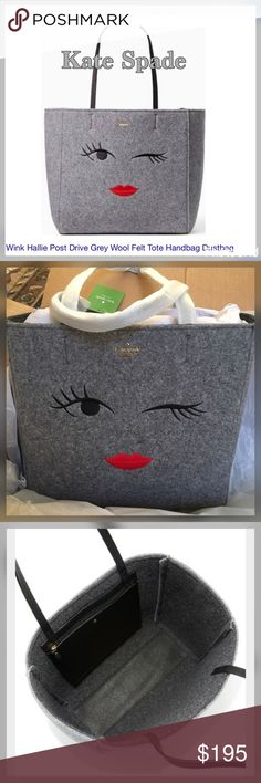 """Kate Spade Wink. DESCRIPTION  with a wink and a smile: this cheeky version of our popular hallie--a roomy, open-topped tote--is made from italian felt and trimmed in leather, for a look that's as versatile as it is charming.   SIZE 11.7"""" h x 12.5"""" w x 5.5"""" d drop length: 8.7"""" MATERIAL italian felt with smooth cow leather trim unlined 14 karat gold plated hardware style # pxru7095 DETAILS tote with open top interior zip pocket kate spade new york gold embossed signature with stud imported…"""