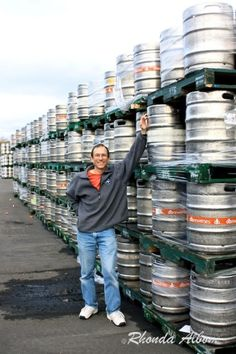 Kegs at Tui Brewery in New Zealand