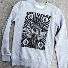 MENS sweater Moth and Palmistry hand mystical by hardtimesdesign