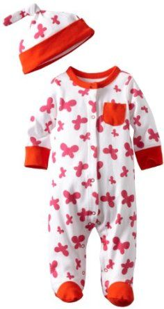0506c4baede Offspring- Baby Girls Newborn Butterfly Floral Footie with Hat