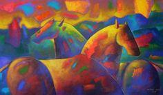 Caballos  88 x 147 cm Acrílico 2014