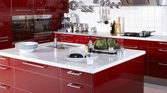 Kitchen Modern Kitchen Decor Ideas Contemporary Kitchen Red Wood High Gloss Kitchen Island White Porcelain Top Square Stainless Undermout Sinks Single Handle Faucet In Stainless