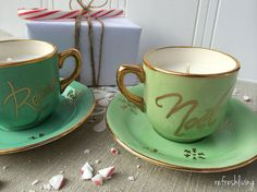 DIY Teacup Candles - I love reusing items to give them a second life, especially when those new items are cool enough to be given as a gift. I used these teacup…