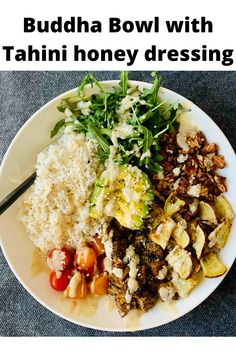 This versatile recipe can be made in a single serving or for a family. It is versatile, nourishing, healthy, and so flavourful. Made with rice, arugula, roasted sweet potatoes, seasoned tofu, tomatoes, and beans. Roasted Vegetables, Veggies, Healthy Fats, Healthy Recipes, Honey Dressing, Single Serving Recipes, Buddha Bowl, Roasted Sweet Potatoes, Arugula