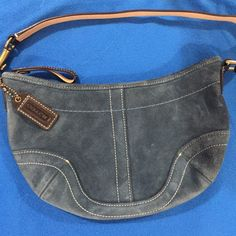 $16Pre loved COACH Blue Suede Small Bag Inside looks new! Outside very well maintained as well! Beautiful Bag! Brown Straps with white stitching on the bag & strap. Coach Bags Mini Bags