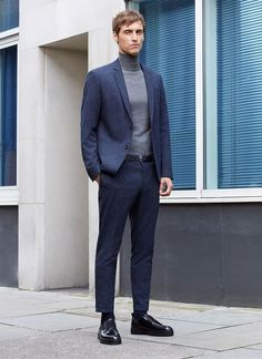's fall-winter 2015 campaign, model Sebastien Andrieu graces our pages once more as he connects with Zara. Mens Fashion Suits, Golf Fashion, Blazer Fashion, Fashion Fashion, Formal Winter Outfits, Formal Attire For Men, Casual Winter, Style Costume Homme, Mens Tailor