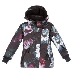 Girls Black Floral 'Pearson' Snow Jacket, Molo, Girl