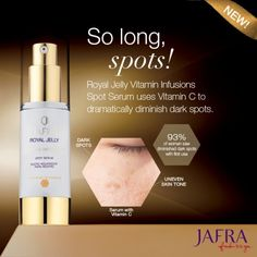 Rediscover even-toned skin with this potent Royal Jelly serum. Ask me for details. http://jafra.me/4c3n