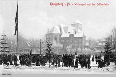 Königsberg, Wintersport auf dem Schloßteich, an der Schloßteichpromenade