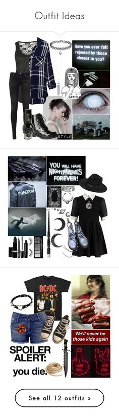 """Outfit Ideas"" by kookies-jean-icon-tip-creation ❤ liked on Polyvore featuring Pilot, Rails, AG Adriano Goldschmied, Gia-Mia, BillyTheTree, Hot Topic, Dr. Martens, Carolina Glamour Collection, Hard Candy and NARS Cosmetics"