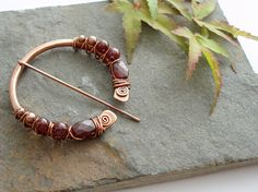 Penannular Brooch  Copper and Garnet by Abbyjewellery on Etsy, $74.25