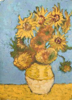 Quiero compartir lo último que he añadido a mi tienda de #etsy: The sunflowers of Van Gogh https://etsy.me/2FhYm5t #arte #pintura #naranja #boda #azul #paint #sunflower #vangogh #oil