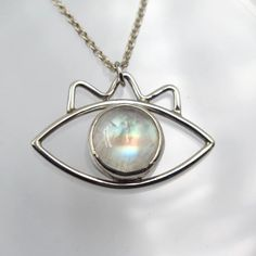 Cyclops Pendant in Moonstone – Alkisti Jewelry Moonstone Pendant, Pendant Necklace, Cyclops, Rainbow Moonstone, Iridescent, Minerals, Handmade Jewelry, Gemstones, Chain
