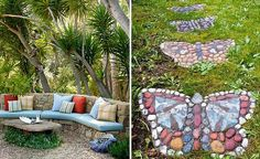 Потрясающие идеи садового декора с помощью камней.