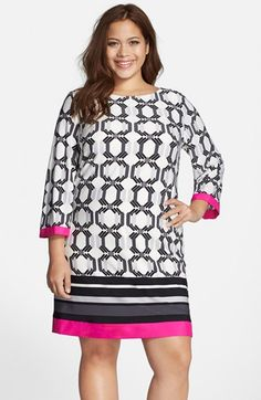 Eliza J Contrast Border Geo Print Shift Dress (Plus Size) available at #Nordstrom