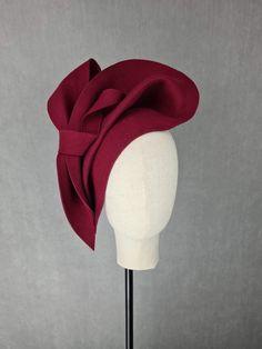 Flapper Headpiece, Headdress, Fascinator, Pillbox Hat, Cocktail Hat, Pill Boxes, Flower Making, All Design, Burgundy