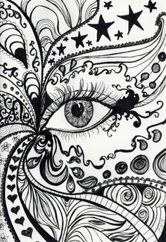 When I was self introduced to Zentangle just over a year ago I did a drawing so similar to this! I am in print of original pen and ink drawing. Abstract eye design, perfect for a bedroom or hallway. Property of Camilla Olim. Realistic Eye Drawing, Drawing Eyes, Abstract Sketches, Abstract Art, Ink Drawings, Easy Drawings, Simple Designs To Draw, Easy Designs, Cool Doodles