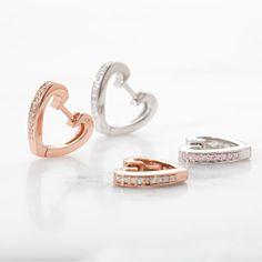 3bda64693a6d86 Hasil gambar untuk earring huggies Heart Shaped Earrings, Rose Gold Earrings,  Hoop Earrings,