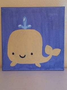 12x12 Original Acrylic Painting on Canvas - Yellow Whale on Blue Background - Personalized Handpainted Nursery Wall Art. $35.00, via Etsy.