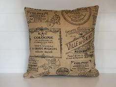 Hey, I found this really awesome Etsy listing at https://www.etsy.com/listing/219178971/burlap-pillow-cover-paris-french-script