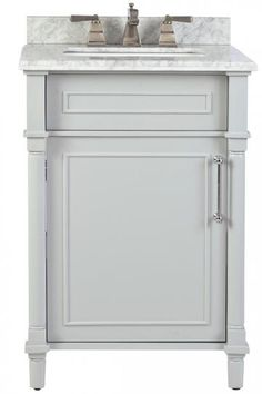 "$479.00. Carrara marble top and matching backsplash. White and Dove Grey options. Aberdeen 24"" Single Vanity - Single Bath Vanity 