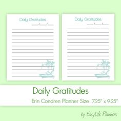 Daily Gratitudes 7.25x9.25 PDF for Erin by EasyLifePlanners  #erin #condren #lifeplanner #gratitudes #pdf