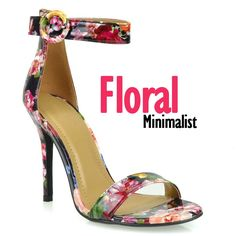 VIVIER : FLORAL PRINT SIMPLE ANKLE STRAP MINIMALIST SANDAL @ www.FABrebel.com #sandals #heels #shoes #minimalist #floral #stylish #trendy #lovelylook #fashionshoes #fashionfinds #shopping #fabrebel