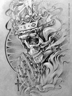 Fotografia Skull Tattoo Design, Tattoo Design Drawings, Tattoo Sleeve Designs, Tattoo Sketches, Sleeve Tattoos, Evil Skull Tattoo, Skull Tattoos, Body Art Tattoos, Brust Tattoo