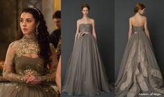 "In the fifteenth episode of Reign entitled ""Darkness"", Mary will show off this stunning Vera Wang Harlow Gown from Spring 2012 Bridal Collection: re-work the Esther bolero? Stunning Dresses, Beautiful Gowns, Pretty Dresses, Renaissance Mode, Renaissance Fashion, Reign Fashion, Fashion Tv, Reign Dresses, Prom Dresses"
