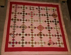 Antique Nine Patch On Point 1800's Quilt