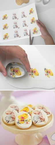 How to decorate cookies with wafer paper (Just Call Me Martha). Different way of doing it than I've seen before.