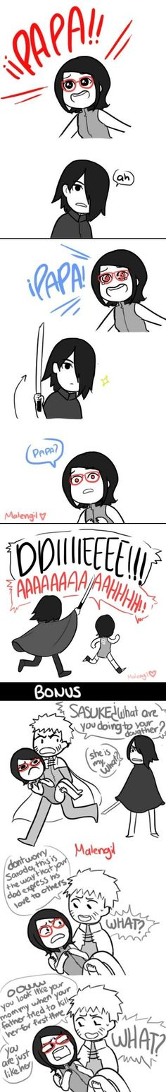 Naruto, Sarada, and Sasuke absolutely terrible hahaha it's obvious that Sakura gave birth to Sarada when Sasuke was away on a mission and so he's back from the mission but he has no idea that Sarada is his daughter and Naruto is just making the situation worse lol