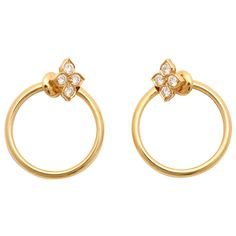 Cartier Diamond Gold Hoop Earrings | From a unique collection of vintage hoop earrings at https://www.1stdibs.com/jewelry/earrings/hoop-earrings/