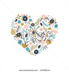 Vector floral concept. Flowers, boho arrows, feathers, wreaths, nature elements and branches in a heart isolated on white background