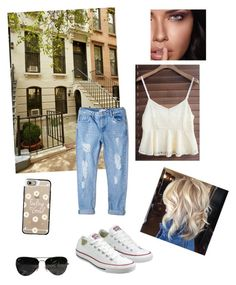 """""""Land"""" by farah-future-malik on Polyvore featuring MANGO, Converse, Casetify, Ray-Ban and Maybelline"""