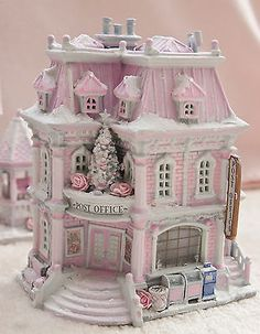 Shabby-Pink-Chic-Post-Office-Christmas-Village-House-Lemax-French-Country