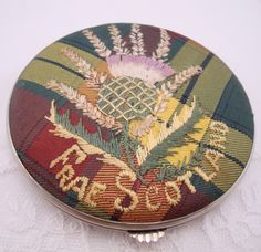 Lovely Vintage Gwenda Compact Embroidered Plaid - Frae Scotland.