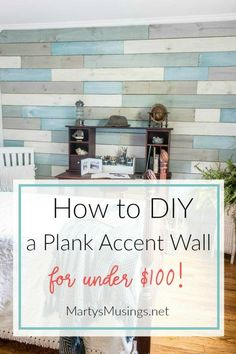 Want an inexpensive, one of a kind accent wall without changing your whole room? Just follow these step by step instructions on how to DIY a plank wall with chalk paint for under $100!