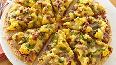 Pepperoni Breakfast Pizza recipe Take a taste adventure with breakfast pizza featuring scrambled eggs, spicy pepperoni and zesty pizza sauce.