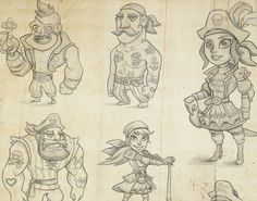www.carbonbyte.com #carbonbyte #pirates #characterdesign #wip #sketch #illustration