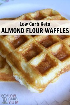 Delicious low carb and gluten free waffles are just as tasty as ones made with wheat flour. These almond flour waffles can be made ahead and frozen for quick and easy breakfast. | LowCarbYum.com via @lowcarbyum