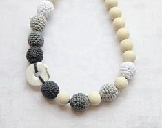 Monochrome. Wrap Baby Carrier Sling Accessory. White, light grey, dark grey, anthracite crochet necklace with natural stone, ready to ship.