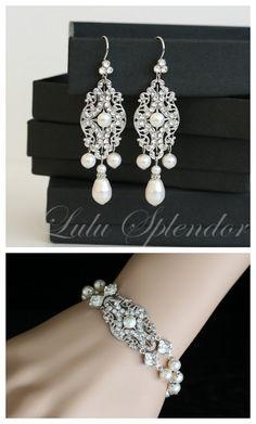 Pearl Bridal Earrings Vintage Filigree Chandelier Wedding Earrings with Swarovski Crystal and Pearl drops Wedding Jewelry YASMIN