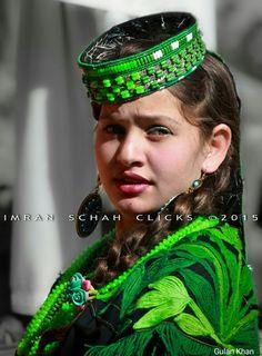 Beautiful Kalashi girl with traditional dress in Kalash valley Chitral Khyber Pakhtunkhwa Pakistan