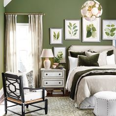 Excellent Green Wall Color For Pine Master Bedroom Furniture Collection - - Olive Green Bedrooms, Olive Bedroom, Green And White Bedroom, Green Bedroom Walls, Green Master Bedroom, Bedroom Paint Colors, Green Rooms, Bedroom Decor, Bedroom Ideas