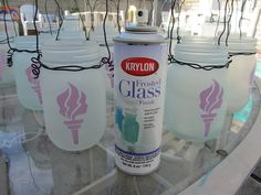 Frosted glass Finish Spray - this looks awesome when you put stickers on wine bottles, put christmas lights in the bottle, spray it with this frosted glass spray and then after it dries, take the stickers off.....really cool looking!