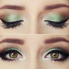 """Mint green shadow is beautiful for spring and summer, but also makes your eyes look well rested & youthful."" - might have to get brave enough to try this color"