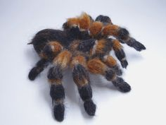 This felted tarantula is carefully and detailedly made from soft wool, wire and plastic eyes . Very lifelike but also cute. it measures about 4