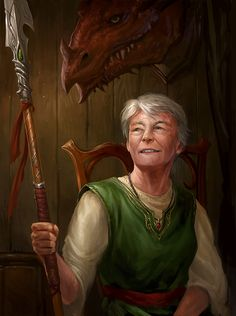 portrait by sandara retired female fighter  elderly older old ranger dragonslayer player character npc | Create your own roleplaying game material w/ RPG Bard at www.rpgbard.com | Writing inspiration for Dungeons & Dragons DND Pathfinder PFRPG Warhammer 40k Star Wars Shadowrun Call of Cthulhu and d20 fantasy science fiction scifi horror design | Not our art: please click artwork for source
